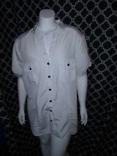 Laura Scott Woman White Short Sleeve Button Up Blouse Sz 16/18W