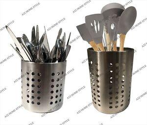 Stainless Steel Cutlery Utensil Holder Kitchen Organiser Caddy Storage Flatware