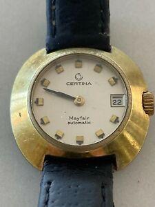 Vintage Ladies Certina Automatic Swiss Watch 18K Gold Casing Sapphire Glass