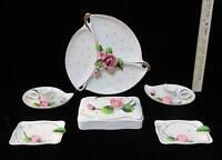 Rose Bud Vanity Set 6 Pc Jewelry Tray Trinket Dish Ashtray Candle Holder Vintage