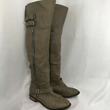 Breckelle's Women's Size 8 Khaki Beige Thigh High Faux Leather Boots