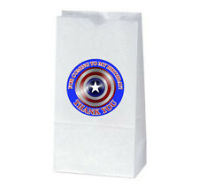 12 CAPTAIN AMERICA Birthday Party TREAT BAGS with STICKERS (2.5 inches)