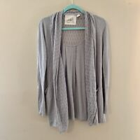 ANTHROPOLOGIE Angel of North Gray linen blend cardigan Women's small