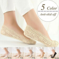 Women Invisible No Show Nonslip Loafer Lace Boat Liner Low Cut Cotton Socks DB