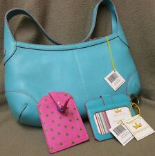 NWT Baekgaard shoulder purse hand bag with wallet turquoise pink