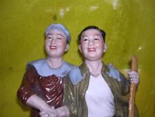 Historic Old Cultural Revolution WuCai Porcelain Worker&Farmer Statue Figure
