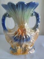 Vintage Ceramic Porcelain Lusterware Hand Painted Vase, Made in Brazil  5 1/2""