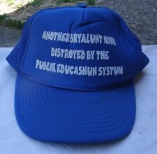 Funny Education Saying Ball Cap,blue,white print,adult size,1980s -casual,hat