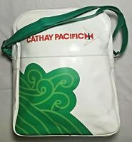 "Vintage Retro Cathay Pacific Airlines Green and White Bag 12"" X 10"" RARE HTF"