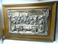 """Antique Religious Metal relief The LAST SUPPER Large 25"""" x 18"""" Christian Jesus"""
