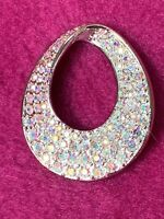 SWAROVSKI OVAL PAVE CLEAR CRYSTAL PIN/BROOCH (Swan Signed)