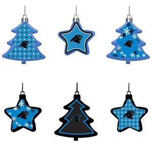 Carolina Panthers Shatterproof TREES & STARS Christmas Tree Ornaments Set 6 pack