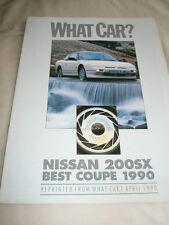 Nissan 200SX What Car road test reprint brochure Apr 1990