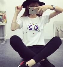 Fashion Women Summer Cute Cat Printed Short Sleeve Casual Blouse Tops T-Shirt A+
