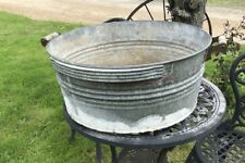 """VINTAGE GALVANIZED 24"""" TUB WITH WOOD HANDLES FAINT RED TRIM"""