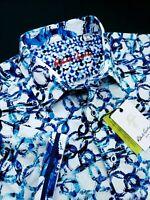 Robert Graham Abstract Blue Circular Print Short Sleeve Shirts