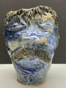 Ugly Face Pottery Crock ~ Cobalt Blue ~ Black Mustache & Hair Jug/Vase