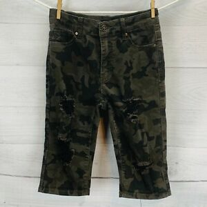 Fashion Nova Juniors Bermuda Shorts Camo Print Distressed Stretch Denim Size 5