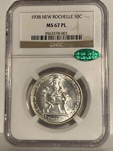 1938 NGC MS67 PL CAC New Rochelle Silver Commemorative Half Dollar - Read