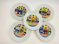 """Set 5 LOURIOUX FRANCE HAUTE PORCELAINE 5 3/4"""" Store Front Pattern Snack Plates"""