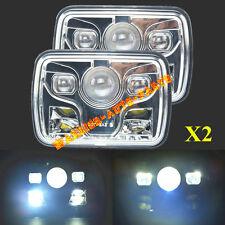 "7x6"" Projector LED Headlights Sealed Beam Headlamp Rectangular Chrome Housing x2"