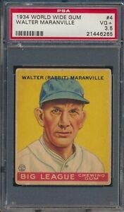 1934 World Wide Gum #4 Walter Rabbit Maranville Boston Braves HOF PSA 3.5