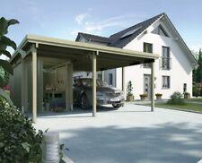 WEKA Carport 607 inkl. Geräteraum Flachdach Garage Überdachung Autogarage Auto