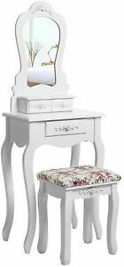 Compact Antique Dressing Table Stool Set Chair Seat Mirror Makeup Desk Drawers