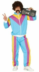 Mens 80s Shellsuit Costume Tracksuit Scouser Retro Adults Fancy Dress Outfit