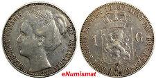 Netherlands Wilhelmina I Silver 1898 1 Gulden 28mm Coronation Issue KM# 122.1