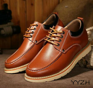 Mens Height Increasing Retro Leather Casual Invisible Elevator Shoes Trend Shoes