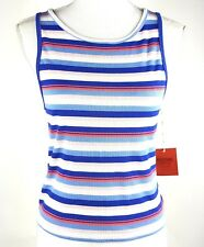 Mossimo Womens Sz XL High Neck Crop Tank Top Blue Pink Stripe NWT Rayon Blend