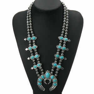 Green Stone Turquoise Indian Native Pendant Squash Blossom Necklace Jewelry