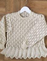 """Baby Girls Peplum Lace Sweater Knitting Pattern DK 20-28"""" 1038"""