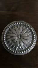 Antique German Or Dutch Solid Silver Snuff Box Or Pill Case Carved Sunflowers