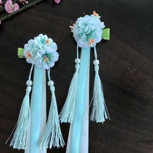 2pcs Chian Child Girl Hanfu Tassel Ribbon Hair Clip Flower Hair Accessories