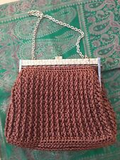 Knitted Handbag Purse Kelly Gold Chain Handles Top Handle Clutch Bag Brown