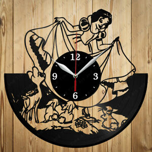 Vinyl Clock Snow White Vinyl Clock Handmade Art Decor Original Gift 2459