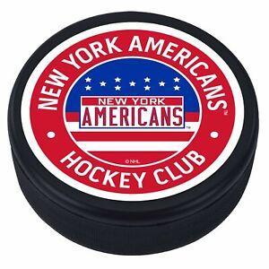 New York Americans 3D Textured Red Vintage Souvenir Hockey Puck