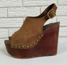 Jeffrey Campbell Snick Studded Platform Wedges 9 Brown Leather Open Toe Wood