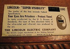 VINTAGE  LINCOLN SUPER-VISIBILITY  WELDING LENS SHADE No. 10  USA MADE ARC MASK