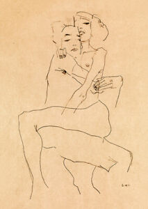 Egon Schiele (1911) Couple Embracing sketch drawing wall art poster print