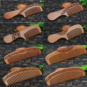 Handcrafted Fine Tooth Hair Styling Tool Peach Wooden Hair Comb Beard Comb