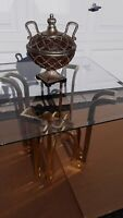 DIA Tulip Form Side Table w/ Brass-Plated Metal Topped w/ Rectangular Beveled Gl