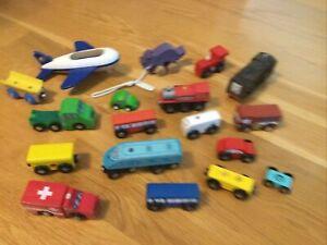 WOODEN TOYS LOT Vehicles Brio Imaginarium Plan City Unbranded Trucks Cars Trains