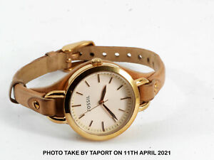 Fossil Womens  Classic Minute Three-Hand Rose Gold Brown Leather Watch BQ3030
