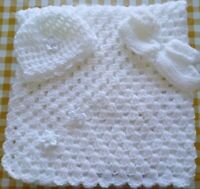 Simple but Sweet Hand Crochet Baby Blanket, Hat & Booties Set White