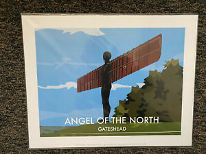 """Retro Contemporary Travel Poster Print Angel Of The North 14""""x11"""" New"""