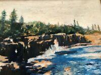 ORIGINAL PA BUCKS COUNTY Ben Marcune Painting Water Landscape 10x12
