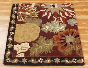 3x3 'Korva' Floral Carpet Hand Tufted Rugs Indien Handmade Rug Wool Area rug